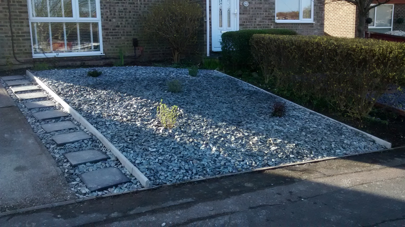 Green slate, new paving slab path and evergreens planted