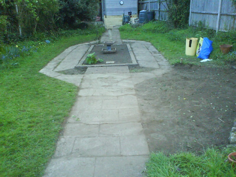Lawn bed prepared and paths cleared