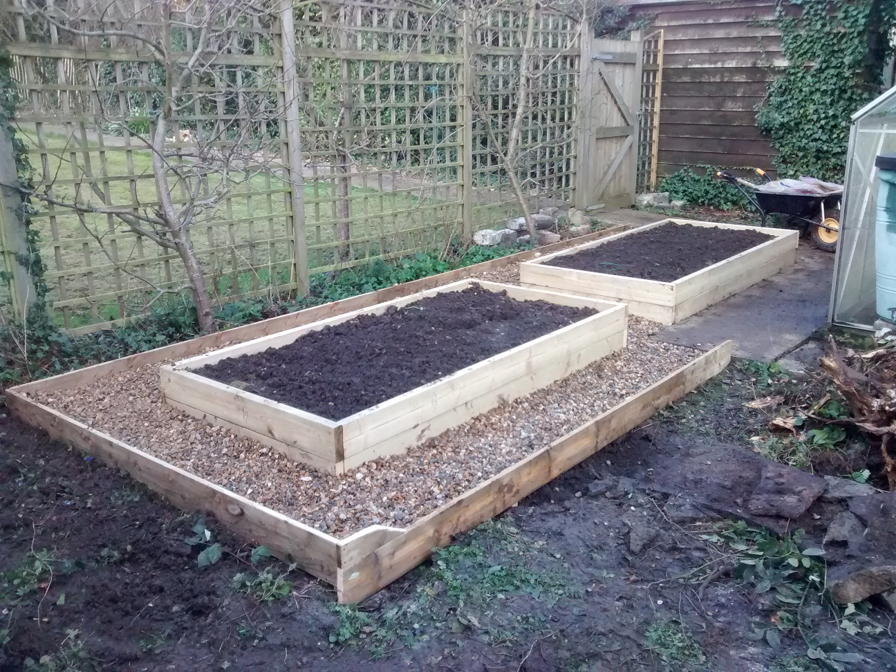 2 raised beds and path
