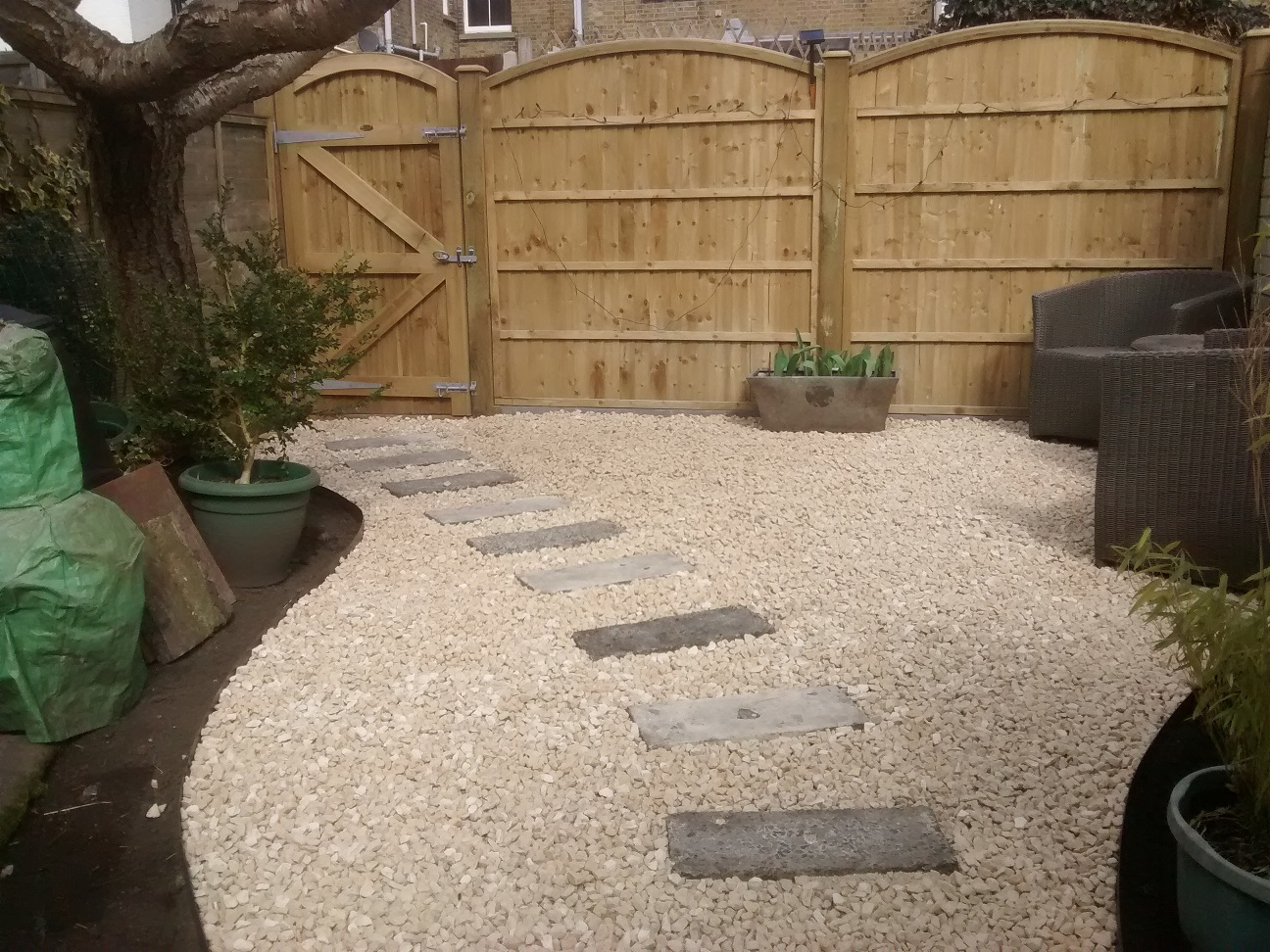 Seating area and fencing finished